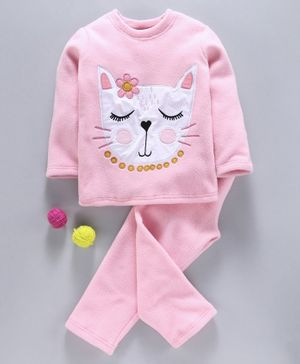 Hugsntugs Cat Face Patch Detailed Full Sleeves Night Suit - Light Pink
