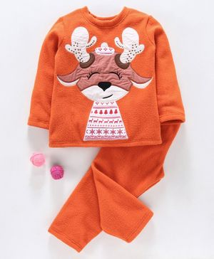 Hugsntugs Reindeer Patch Detailed Full Sleeves Night Suit - Orange
