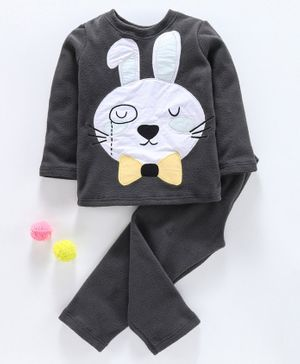 Hugsntugs Bunny Patch Detailed Full Sleeves Night Suit - Dark Grey