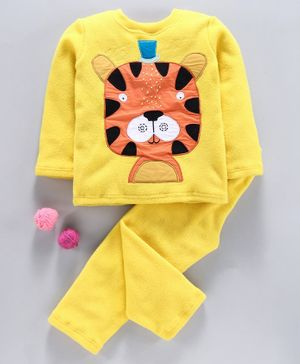 Hugsntugs Tiger Patch Detailed Full Sleeves Night Suit - Yellow