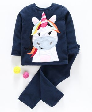 Hugsntugs Unicorn Patch Detailed Full Sleeves Night Suit - Navy Blue