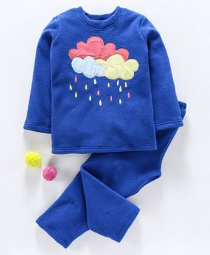 Hugsntugs Cloud & Rain Drop Patch Detailed Full Sleeves Night Suit - Royal Blue
