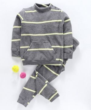 Hugsntugs Striped Full Sleeves Sweatshirt & Track Pants Set - Grey