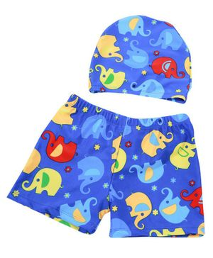 Syga Swimming Trunks & Cap Set  Elephant Print - (Color & Design May Vary)