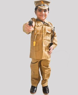 Chipbeys Fancy Dress Full Sleeves Police Themed Costume With Cap Toy Gun Hostler & Whistle - Brown