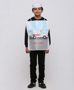 Chipbeys Full Sleeves Ambulance Fancy Dress Costume With Prop & Cap - White & Black