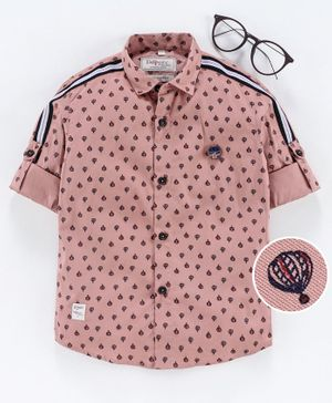 Dapper Dudes Roll Up Full Sleeves All Over Parachute Printed Shirt - Pink