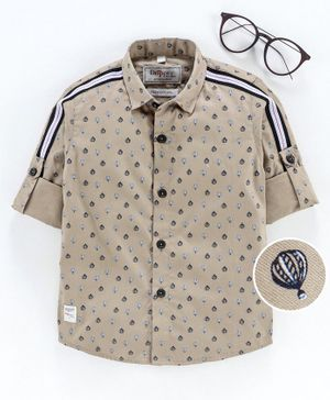 Dapper Dudes Roll Up Full Sleeves All Over Parachute Printed Shirt - Beige