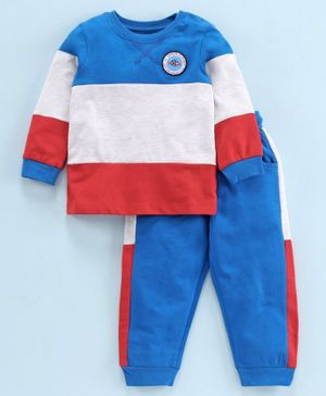 Babyoye Full Sleeves Tee & Bottom Set Space Patch - Blue Red