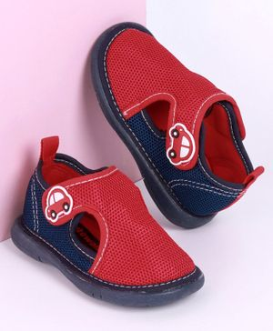 Cute Walk by Babyhug Sandals with Velcro Closure Car Patch - Red Navy Blue