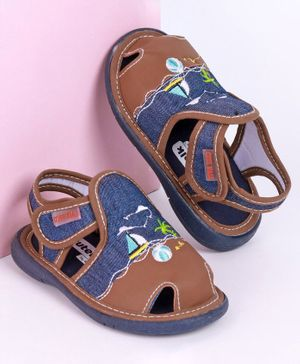 Cute Walk by Babyhug Closed Toe Embroidered Sandals - Brown