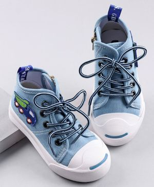 Cute Walk by Babyhug Canvas Shoes Vehicle Patch - Sky Blue