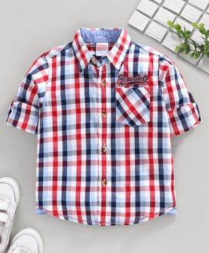 Babyhug Full Sleeves Checks Shirt Baseball Embroidery - Red Blue