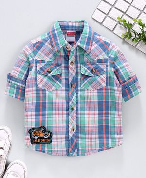 Babyhug Full Sleeves Checked Shirt - Green Blue