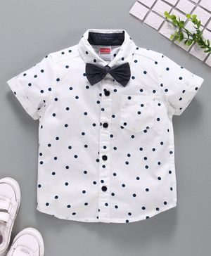 Babyhug Half Sleeves Party Wear Shirt with Bow - White