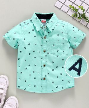 Babyhug Half Sleeves Shirt Alphabet Print - Green