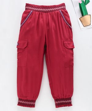 Babyhug Full Length Trouser Chevron Embroidery - Red