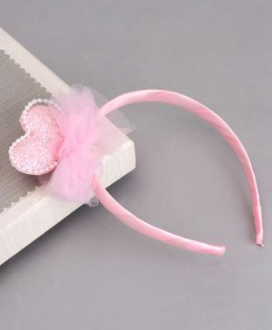 Babyhug Hair Band with Heart Applique - Pink