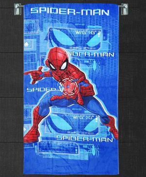 Sassoon Cotton Towel Spiderman Print With Gift Box - Red Blue