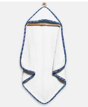 The Baby Atelier Organic Hooded Towel - Blue & White Dots