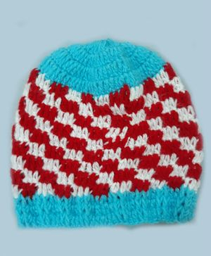 Knitting By Love Checked Cap - Blue