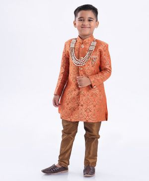 Ethnik's Neu-Ron Jacquard Sherwani with Pyjama - Rust Orange Brown