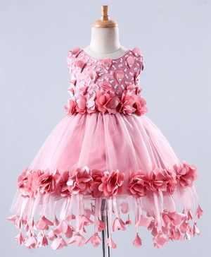 Mark & Mia Sleeveless Frock Beads Embellishment - Pink