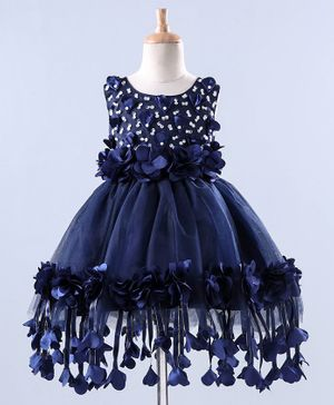Mark & Mia Sleeveless Frock Beads Embellishment - Navy Blue
