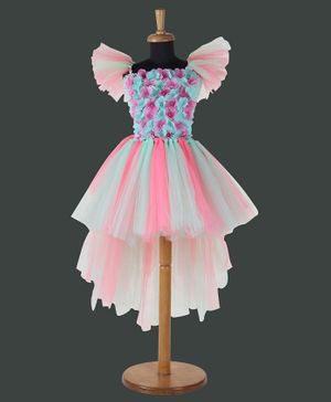 Pink Chick Cap Sleeves Flower Applique Fit & Flare High Low Dress  - Blue & Pink