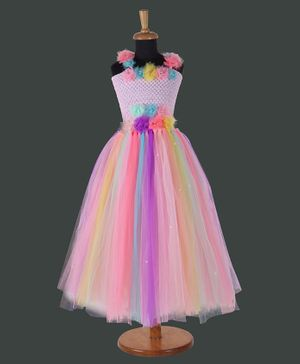 Pink Chick Flower Decorated Sleeveless Multi Color Tulle Gown - Multi Color