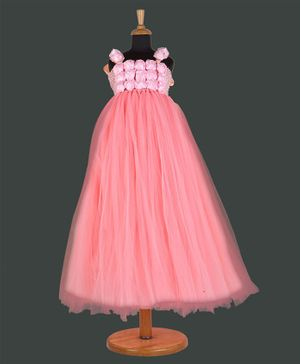 Pink Chick Sleeveless Rosette Yoke Gown - Peach