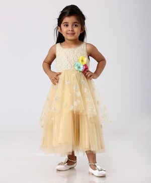 Babyhug Sleeveless Embellished Ethnic Dress Floral Applique - Light Yellow