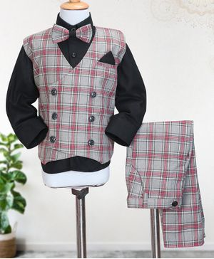Knotty Kids Full Sleeves Shirt With Bow & Checked Waistcoat With Pants - Grey