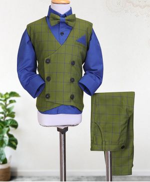 Knotty Kids Full Sleeves Shirt With Bow & Checked Waistcoat With Pants - Dark Green