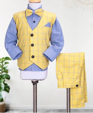 Knotty Kids Full Sleeves Shirt With Bow & Checked Waistcoat With Pants - Yellow