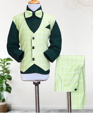 Knotty Kids Full Sleeves Shirt With Bow & Checked Waistcoat With Pants - Green