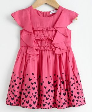 Babyoye Short Sleeves Frock Heart Print - Pink