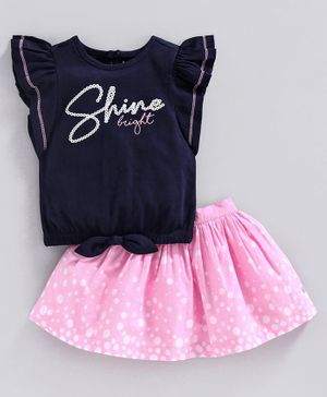 Babyoye Short Flutter Sleeves Cotton Lycra Top & Polka Dotted Skirt - Navy Blue Pink