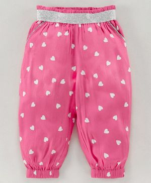 Babyoye Full Length Cotton Lounge Pant Heart Print - Pink