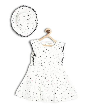 Bella Moda Flower Printed Sleeveless Fit & Flare Dress With Cap - White