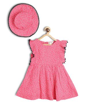 Bella Moda Flowers Printed Sleeveless Fit & Flare Dress With Cap - Pink