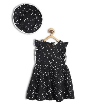 Bella Moda Stars Printed Fit & Flare Sleeveless Dress With Cap - Black