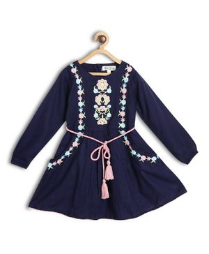 Bella Moda Floral Embroidered Full Sleeves Dress - Blue