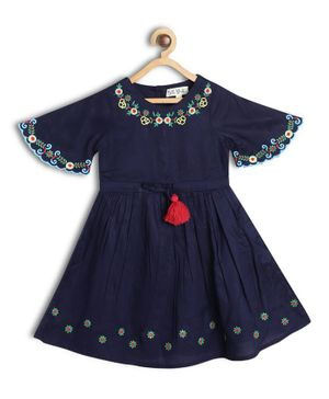 Bella Moda Embroidered Half Sleeves Dress - Blue