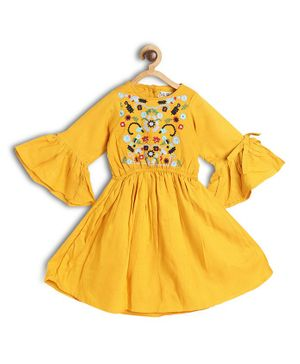 Bella Moda Ruffled Three Fourth Sleeves Flower Embroidered Flared Dress - Yellow