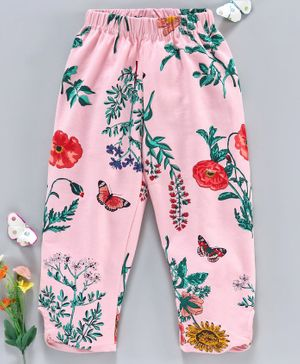 Ollypop Three Fourth Length Leggings Floral Print - Pink