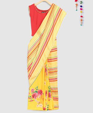 Silverthread Striped & Floral Print Saree With Sleeveless Blouse - Yellow