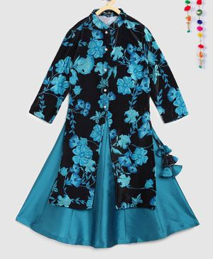 Silverthread Floral Print Full Sleeves Front Slit Kurta With Lehenga - Black & Blue
