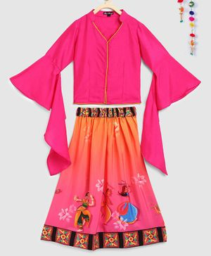 Silverthread Three Fourth Sleeves Choli With Couple Playing Dandiya Print Lehenga - Pink