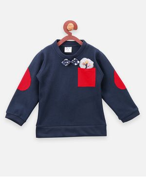 Lilpicks Couture Full Sleeves Bow Detailed Elbow Patch Sweatshirt - Navy Blue